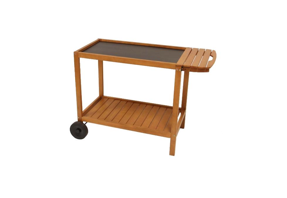 Chariot en bois avec plateau XL