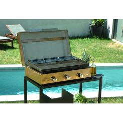 Couvercle de protection pour plancha Simplicity 3 brûleurs inox doré