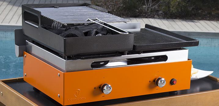 barbecue plancha gaz combine charbon exterieur orange