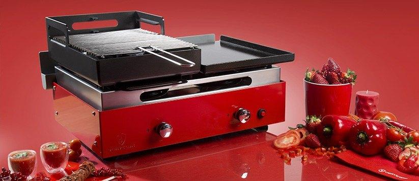 Barbecue plancha grill au gaz et au charbon de bois verycook - Plancha pour barbecue charbon ...