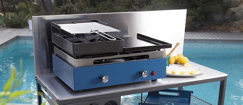barbecue plancha grill au gaz et au charbon de bois verycook. Black Bedroom Furniture Sets. Home Design Ideas