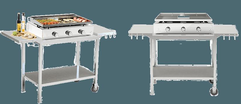 Chariots et dessertes en inox pour plancha verycook for Table pour plancha inox